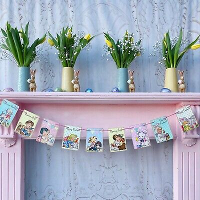 Vintage Easter Bunting Quirky Garland Party Wedding Easter Spring Banner Decor • 10£