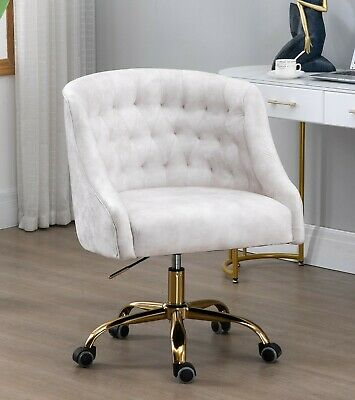AU239 • Buy Beige Velvet Fabric Upholstered Tufted Office Chair Home Office Chair Gold Base