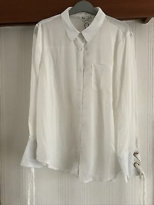 Brave Soul M Blouse Cream With Gold Ring And Lace Up Detail To Cuff New With Tag • 10£