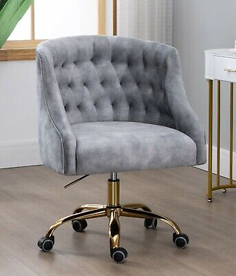 AU239 • Buy Silver Velvet Fabric Upholstered Tufted Office Chair Home Office Chair Gold Base