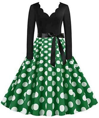 AU12.90 • Buy 50s Dresses For Women Polka Dot Rockabilly Cocktail Retro, Green, Size Large UEH