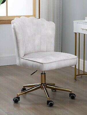 AU249 • Buy Shell Velvet Fabric Upholstered Home Office Chair Gold Base-Beige