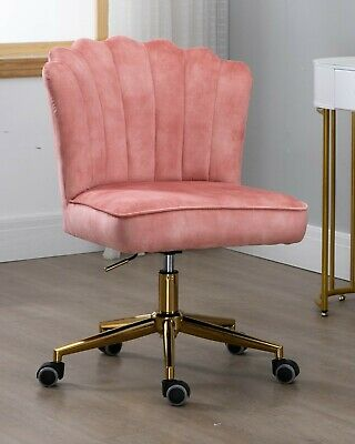 AU249 • Buy Shell Velvet Fabric Upholstered Home Office Chair Gold Base-Pink