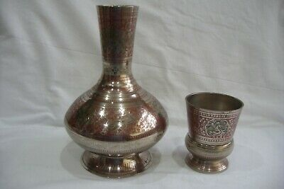 Vintage Middle Eastern / Indian Silver Plate On Brass Vase & Cup. • 12.99£