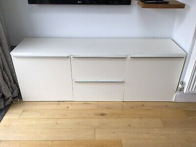 Ikea Besta TV Unit White - Silver Trim ,comes With Detachable Feet .180 Cms • 35£