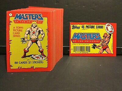$36.99 • Buy Masters Of The Universe 1984 Topps Set Of 88 NM Cards +9 Stickers + Rack Header
