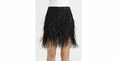 £173.21 • Buy NWT HAUTE HIPPIE OSTRICH Sequin Feather Mini SKIRT SIZE S $495 BLACK NORDSTROM