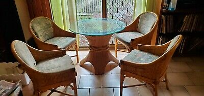 AU600 • Buy Cane Dining Set With 2x Glass Tops Vintage Retro Needs To Be Reupholstered