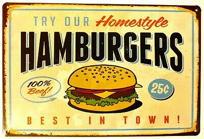 £5.99 • Buy Try Our Hamburgers American Diner Metal Tin Wall Sign Plaque 30 X 20 Cm