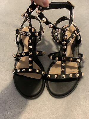 Womens Missguided Black And Gold Studded Gladiator Sandals Size Uk4 Eu37 • 18£