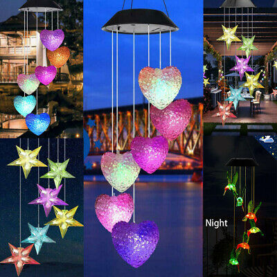 Hanging Wind Chimes Colour Changing Solar Powered LED Ball Lights Garden Outdoor • 5.99£
