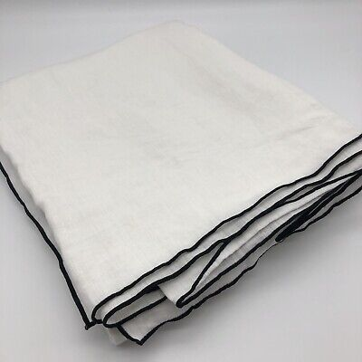 £49.50 • Buy New Suzy 100% Washed Linen Tablecloth French Designer White Black 180 X 300cm