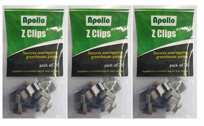 60 X Greenhouse Z Clips By Apollo-Secures Overlapping Greenhouse Window Panes • 4.49£
