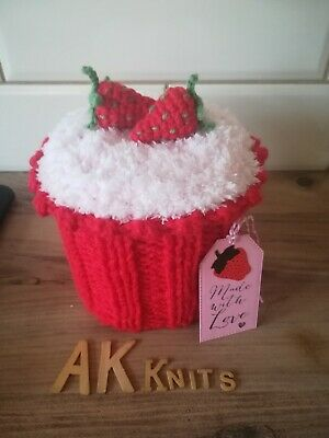 £9 • Buy Knitted Strawberry Cupcake Toilet Roll Holder Cover Cosy Unique Novelty Gift