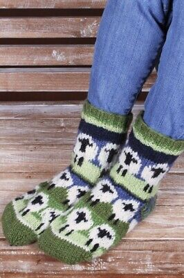 Pachamama Fair Trade Hand Knitted 100% Wool Sofa Socks Style Flock Of Sheep New • 21£