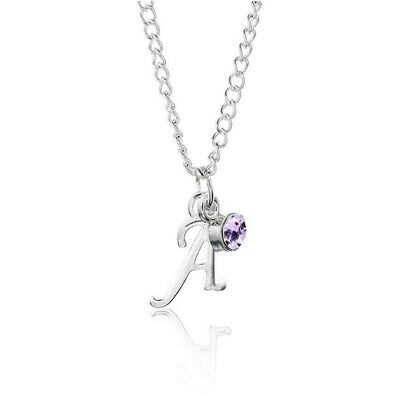 £2.65 • Buy Birthstone Necklace June Silver Plated Scroll Initial Letter Alphabet A-Z 18