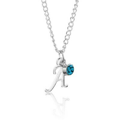 £3.25 • Buy Birthstone Necklace December Silver Plated Scroll Initial Letter Alphabet AZ 18