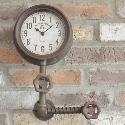 Metal Industrial Clock Antique Rustic Warehouse Factory Station Pipe Wall Art  • 29.99£