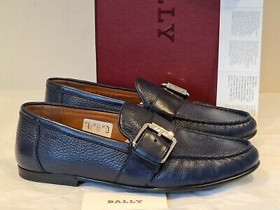 £170 • Buy BALLY Men's Ink Blue Deer Grained Leather Loafers Shoes UK 6 EU 40