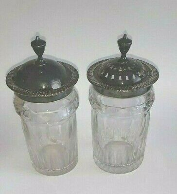 Vintage Lovely English Condiments Covered Jars With Lids • 9.99£