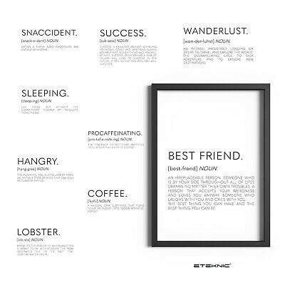 Definition Prints Funny Wall Art Posters Home Decor Dictionary Quotes Print Sign • 3.99£