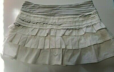 $ CDN99 • Buy Lululemon Back On Track Skirt Sz 10 White Silver Spoon Narrow Bold Multi VEUC