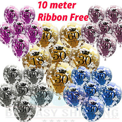 £2.99 • Buy PINK BLUE Age Birthday Balloons 16th 18th 21st 30th 40th Birthday Decorations UK