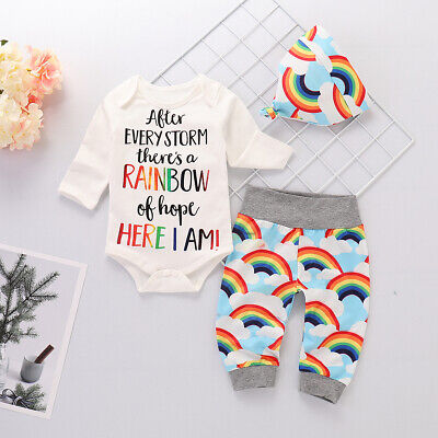 UK Newborn Baby Boys Girls Rainbow Romper Tops + Pants Hat Outfits Clothes Set • 7.49£