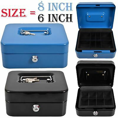 Cash Box Petty Money Safe Deposit Steel Tin Security Organiser 2 Keys Lockable • 7.99£