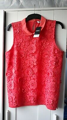 Woman's Next Orange Lace Detail Top With Collar Size UK 18 BNWT  • 5£