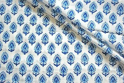 White Blue Ikat100% Cotton Indian Hand Block Printed Dress Material Craft Fabric • 9.25£