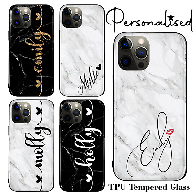 AU15.14 • Buy Personalised Name Marble TPU Tempered Glass Case For IPhone 6 7 8 X SE 11 12 Pro