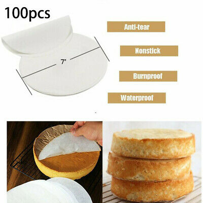 100pcs 7inch Non-Stick Round Parchment Paper Air Fryer Cake Tin Liners • 9.34£