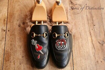 AU478.92 • Buy Gucci Black Leather Princetown Fur Lined Mules Sandals Loafer Shoes UK 7