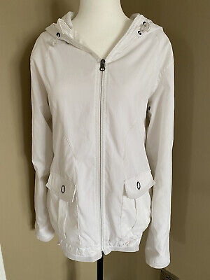 $ CDN34 • Buy Lululemon White Lined Hooded Jacket Windbreaker Sz 8/10 AND Pink T Shirt Med