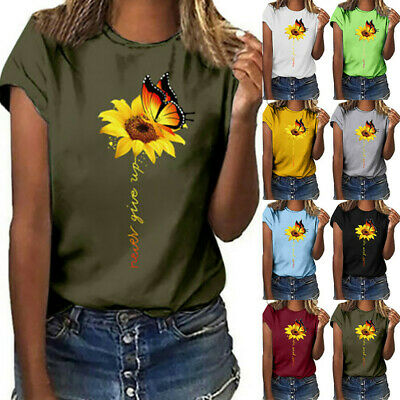 £10.43 • Buy Womens Summer Sunflower Printed T Shirt Tops Ladies Butterfly Crew Neck Pullover