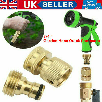 3 /4  Garden Water Hose Quick Connector Fit Brass Male Female Connect Fitting UK • 7.09£