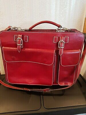 Giglio Italian Cowhide Leather Document Laptop Briefcase - Red • 20£