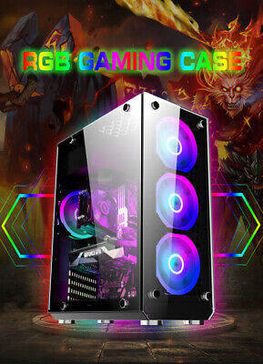 PC Gaming Case, ATX- Mid Tower, 6x 12cm RGB Fans, USB 3.0, Tempered Glass • 64.99£