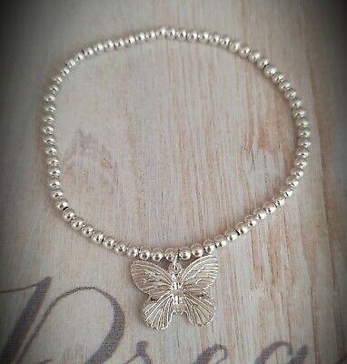£2.99 • Buy Womens Silver Plated Ball Bead Butterfly Charm Stretchy Stacking Bracelet Gift