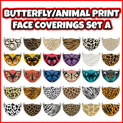COLOURED Animal Print/Butterfly Face Covering Mask ADULTS MASKS Set A • 6.99£