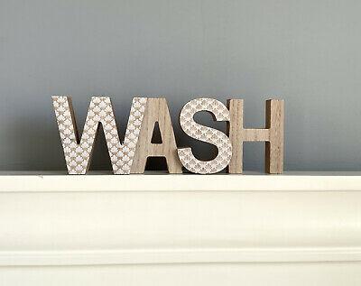 WOODEN   WASH   WORD PLAQUE SIGN FREESTANDING DECORATIVE ORNAMENT, Laundry Room  • 10.99£