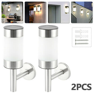 2X Outdoor Solar Wall Lights Fence Door Shed Garden Step LED Bright Fence Light+ • 13.29£