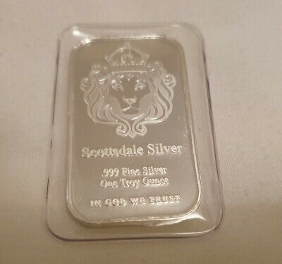 Scottsdale 1oz Silver Bullion Ingot Bar. 0.999 In Original Sealed Case • 31£