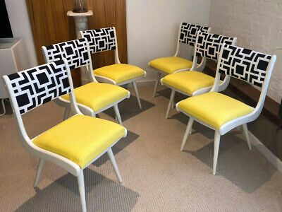 AU800 • Buy Newly Restored And Upholstered Set Of 6 Unique Dining Chairs, Yellow Black White