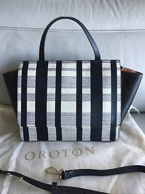 AU150 • Buy OROTON Leather Black & White Handbag With Adjustable Shoulder Strap AS NEW