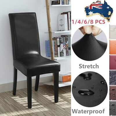 AU41.79 • Buy 4/6PCS Waterproof Dining Chair Covers PU Leather Seat Slipcovers Oil-proof