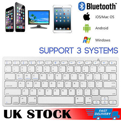 Portable Slim Bluetooth Keyboard Wireless For Android IPad IOS IMac PC Tablet UK • 9.77£
