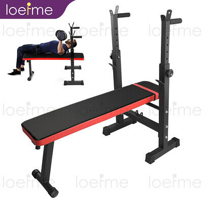 £57.99 • Buy Adjustable Folding Weight Bench Barbell Dip Station Flat Sit Up Gym Fitness