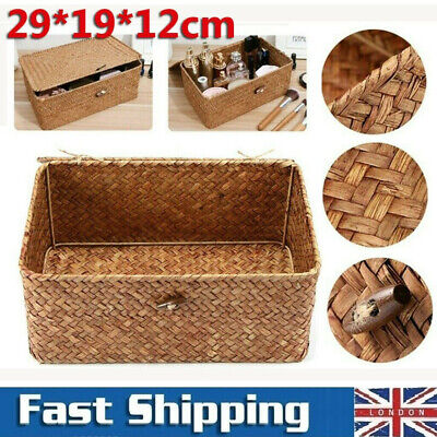 Large Wickers Storage Basket Box With Lid & Lock Woven Wicker Landry Hamper Gift • 9.58£